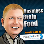 Business brain food logo, cartoon man grey text on blue