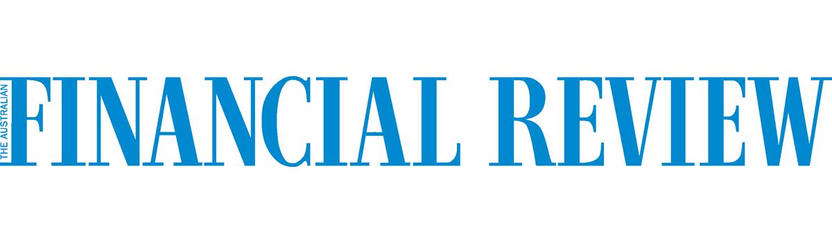 Australian Financial Review logo, blue text on white