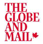 The Globe and Mail logo, text and maple leaf on white