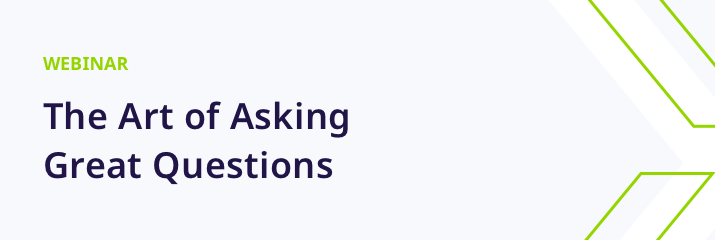 webinar, the art of asking great questions, purple and green text, light grey background
