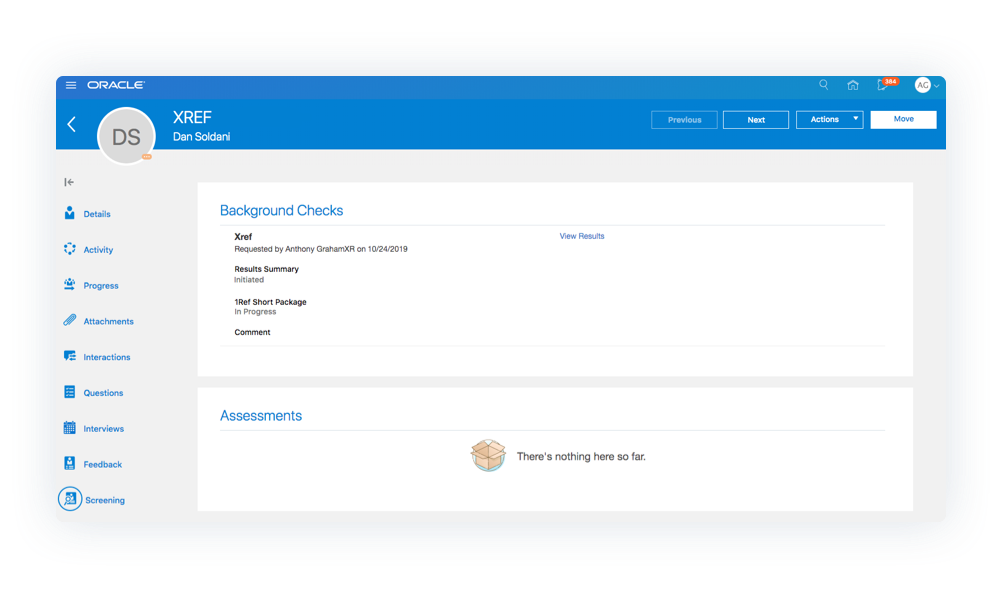 Monitor Progress in Oracle Recruitment Cloud integration