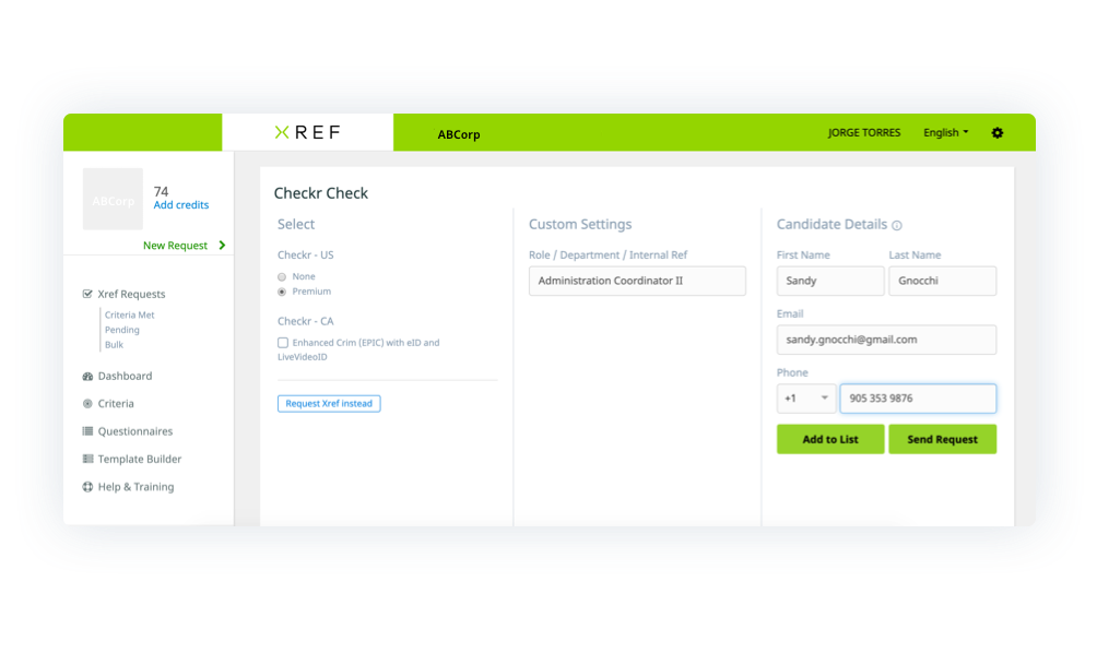 Request Checkr in Xref integration