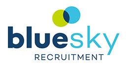 Blue Sky recruitment logo, blue text on white background