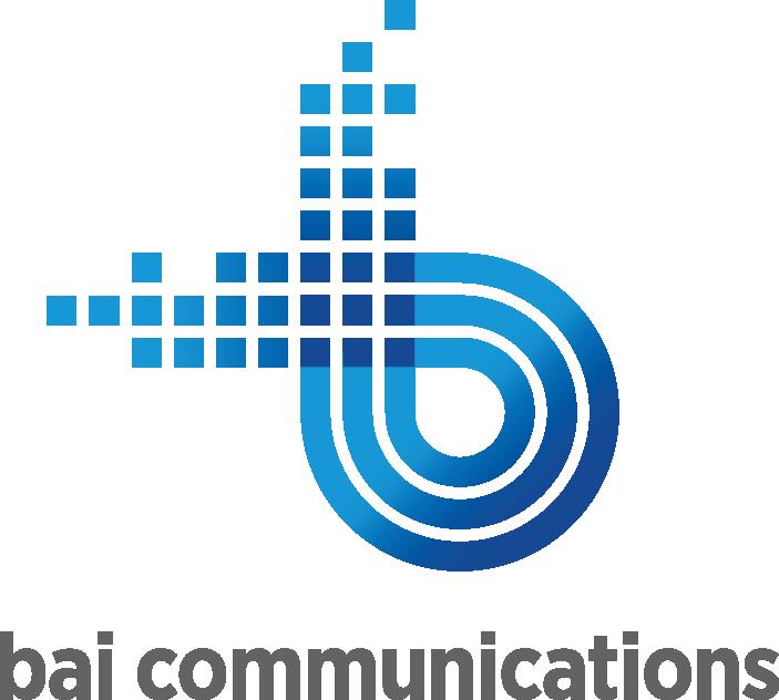 Bai Communications logo, blue, grey text on white