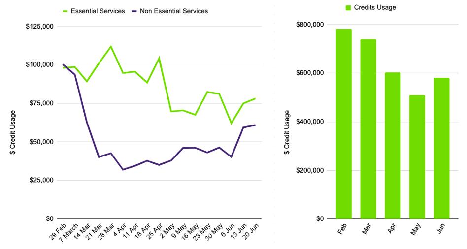 Essential services hiring line graph, credit usage bar graph