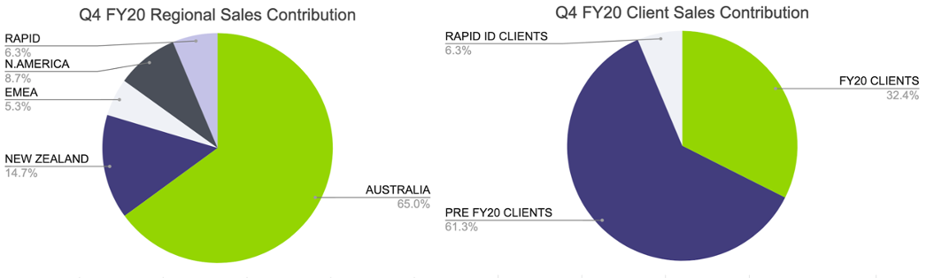 Sales contribution pie charts