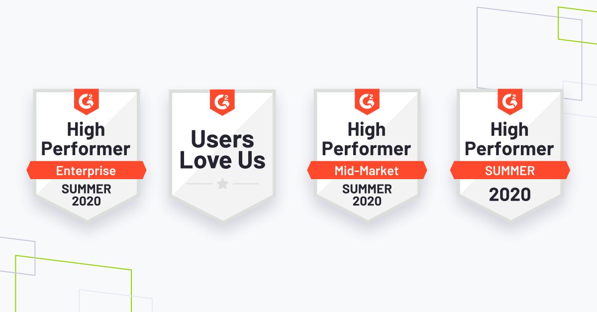 G2 summer 2020 Badges, brand shapes on grey