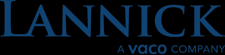 Lannick logo, blue text white background