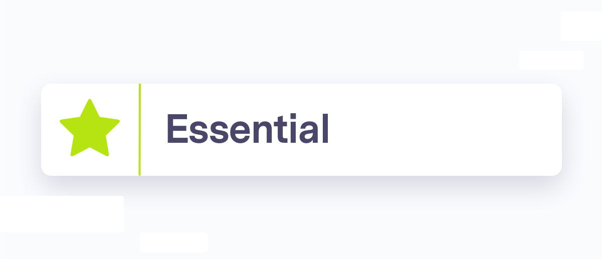 Essential question section header, green star icon