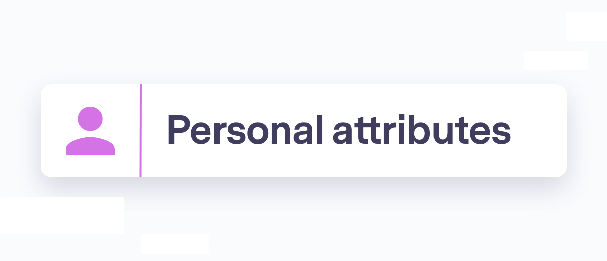 Personal attributes section header, pink person icon