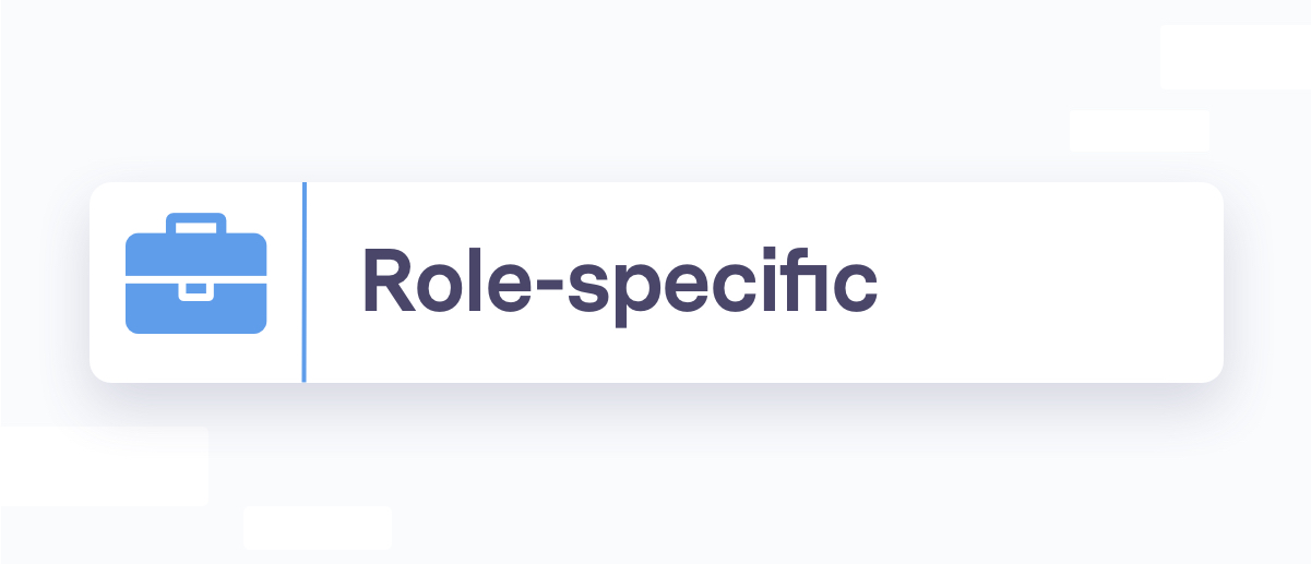 Role-specific section header, blue briefcase icon