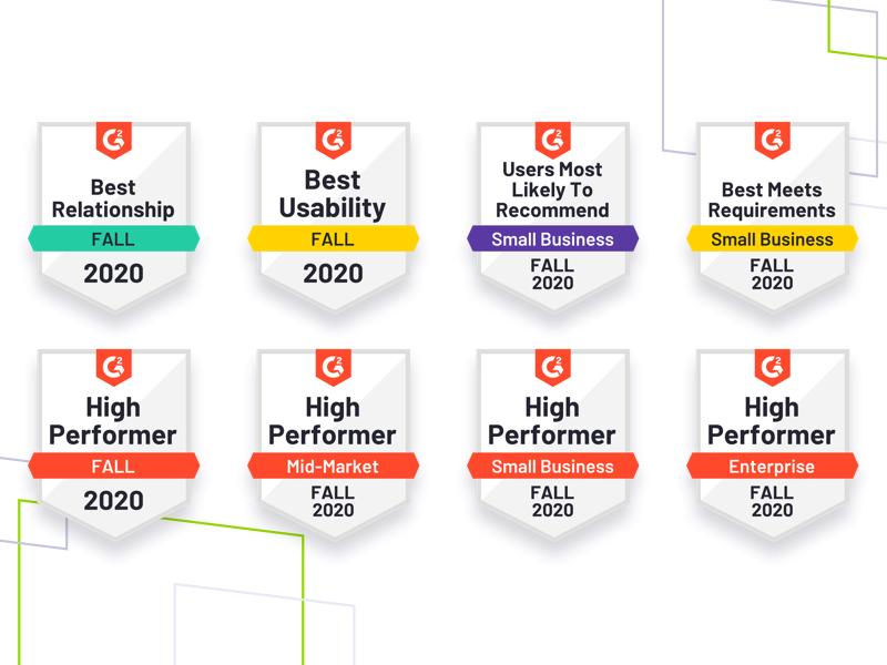 G2 Summer 2020 badges , brand shapes on white