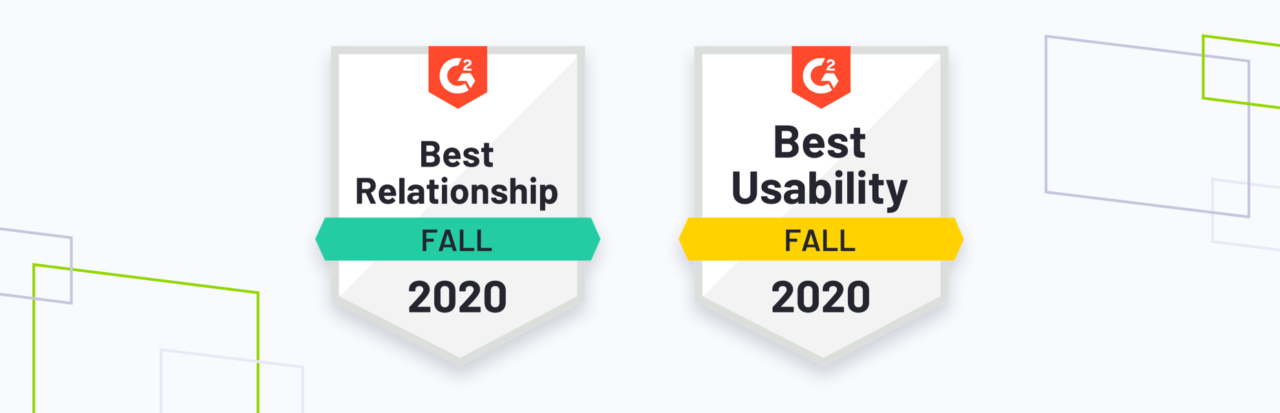 G2 Fall 2020 badges with brand shapes
