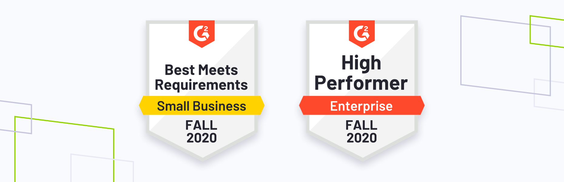 G2 fall 2020 badges, most likely to recommed and high performer