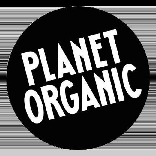 Planet organic logo, white text black circle