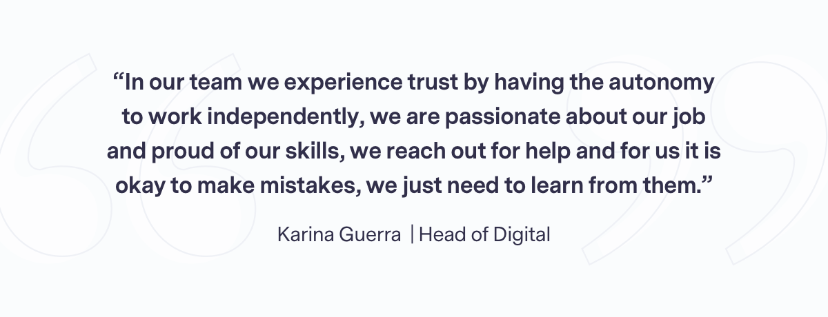 Team quote from Karina