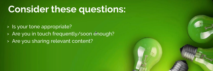 Lightbulbs on green background with questions to consider