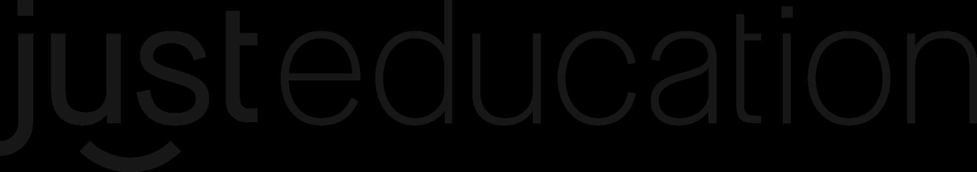 Just education logo, black text