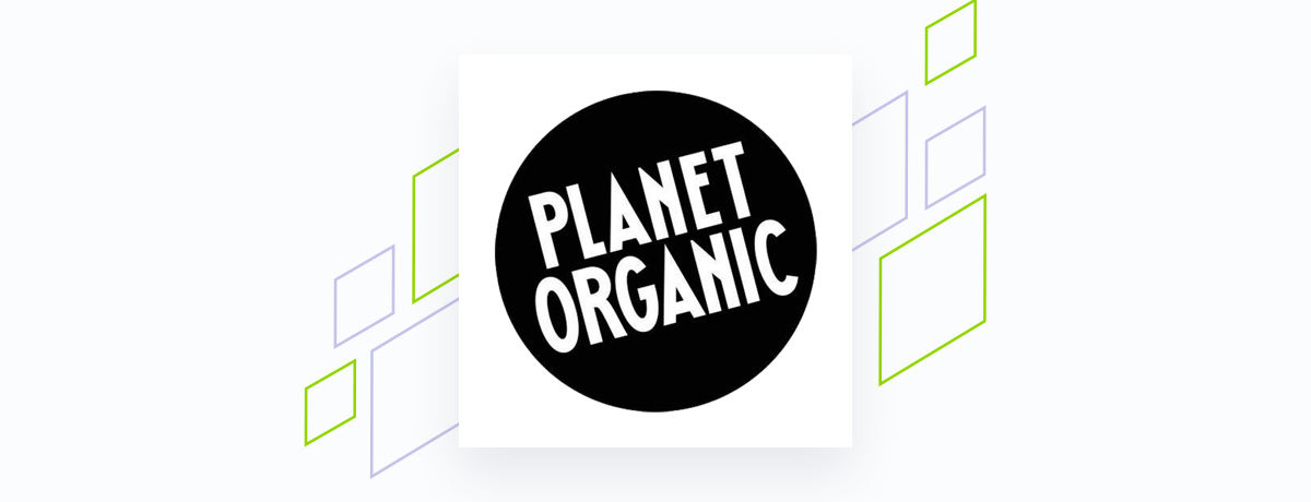 Planet Organic logo on white square, brand shapes on grey