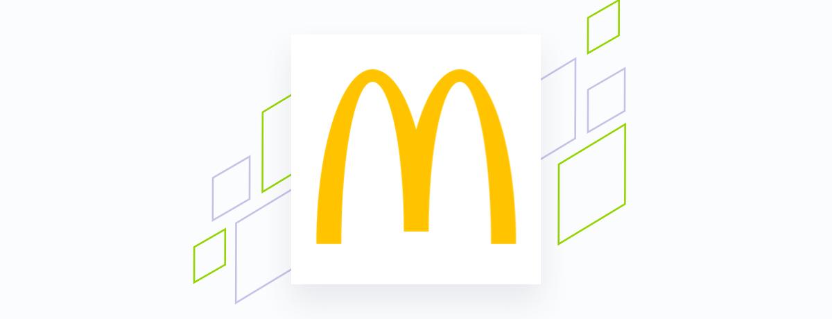 McDonalds logo on white square, brand shapes on grey