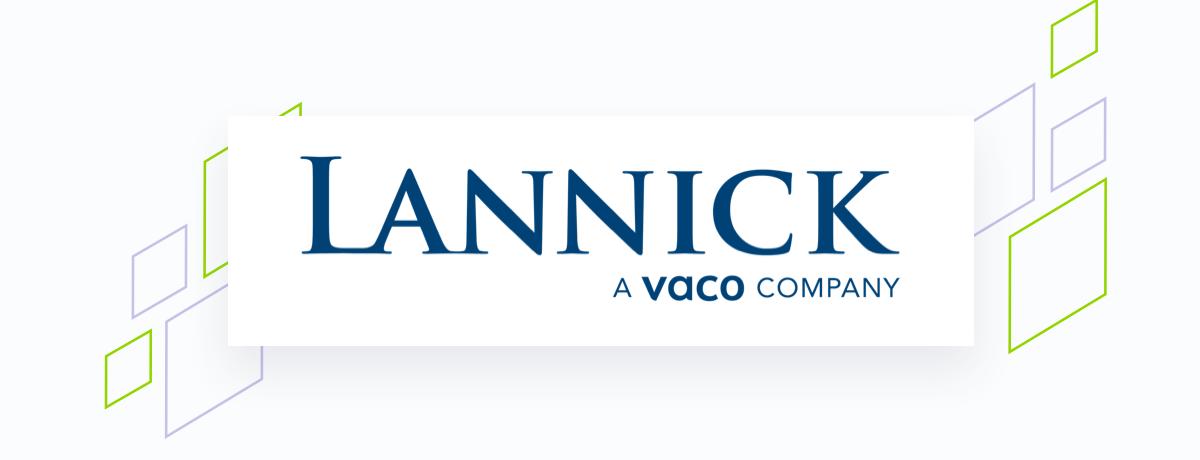 Lannick logo on white square, brand shapes on grey