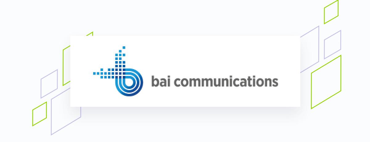 Bai logo on white square, brand shapes on grey
