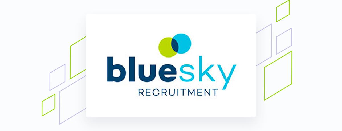 Bluesky logo on white square, brand shapes on grey