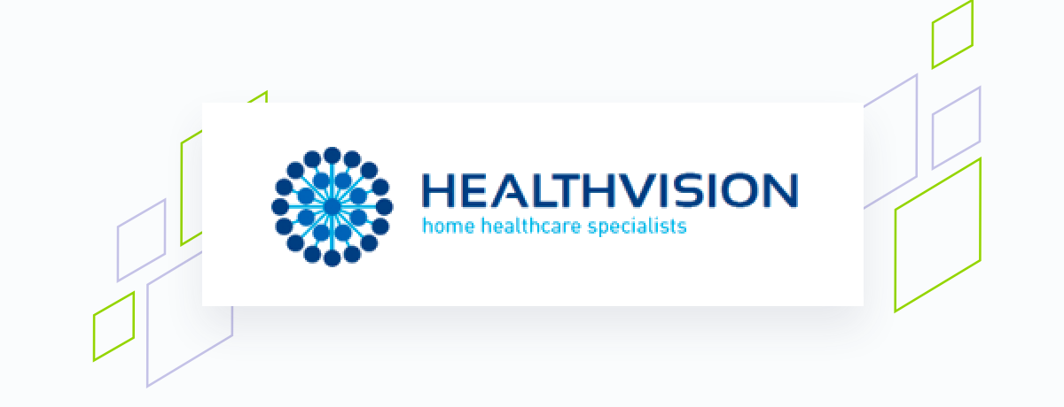 Healthvision logo on white square, brand shapes on grey