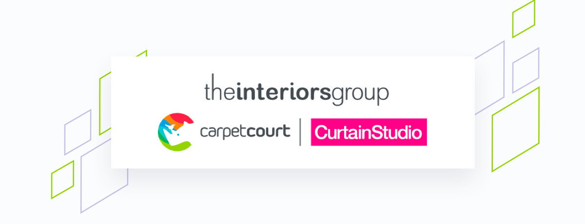 Interiors group logo on white square, brand shapes on grey