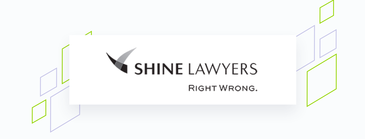 Shine Lawyers logo on white square, brand shapes on grey