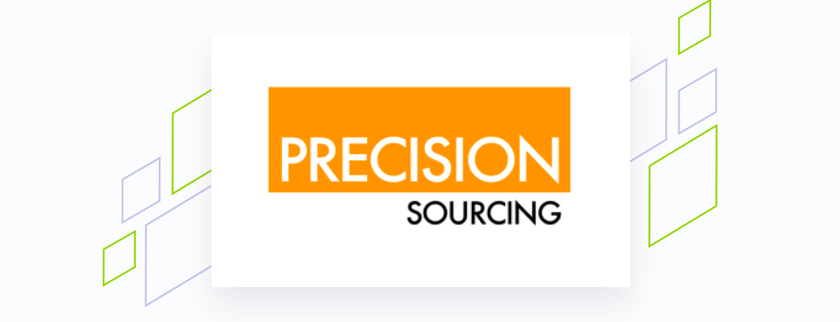 Precision Sourcing logo on white square, brand shapes on grey