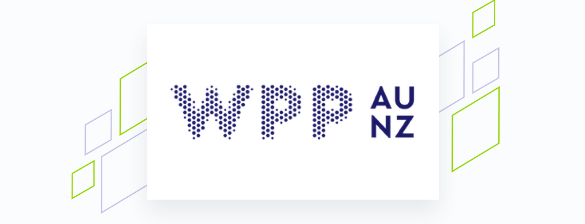 WPP logo on white square, brand shapes on grey