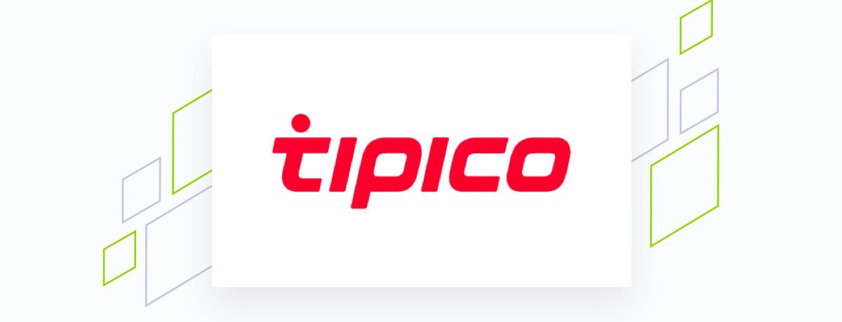 Tipco logo on white square, brand shapes on grey
