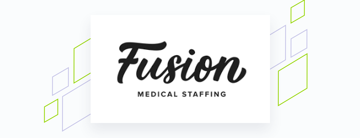 Fusion logo on white square, brand shapes on grey
