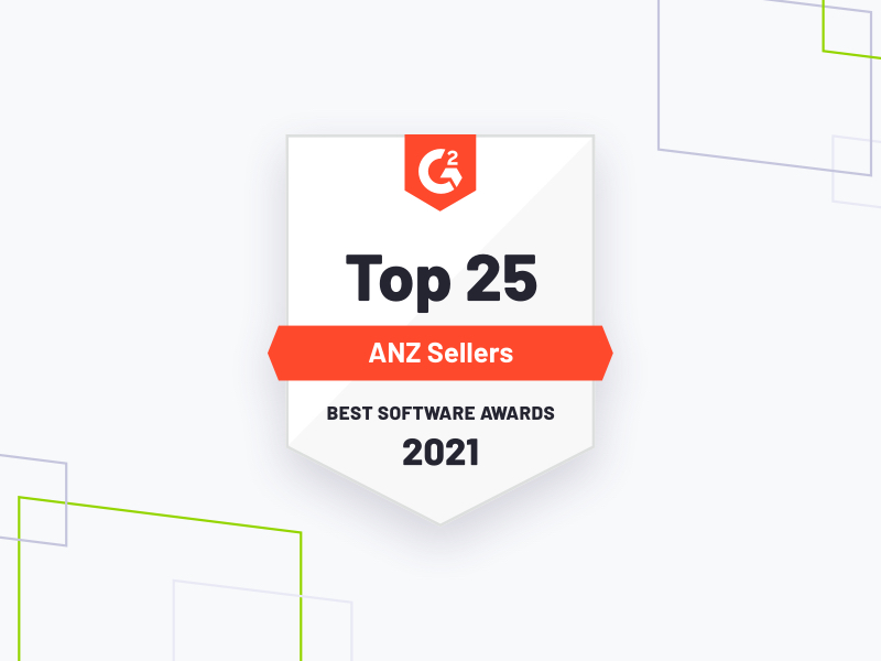 Top 25 ANZ sellers award G2, brand shapes on grey
