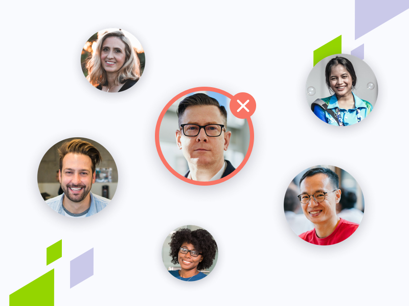 6 profile photos with a red ring and x to show a bad hire
