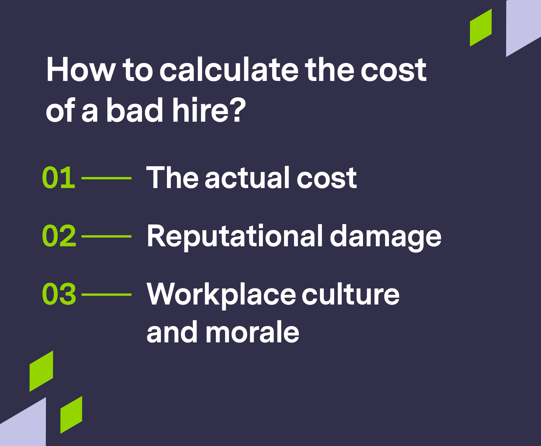 Branded graphic to calculate the cost of a bad hire