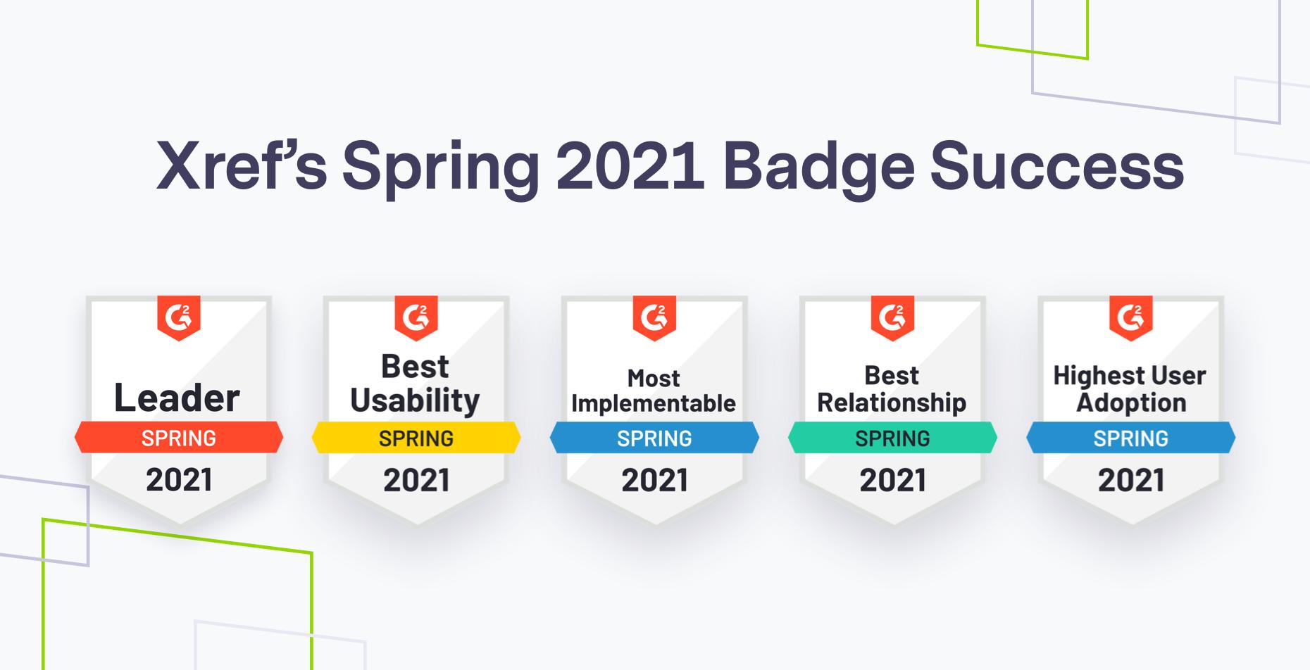 Xref spring 2021 G2 badges, brand shapes on grey