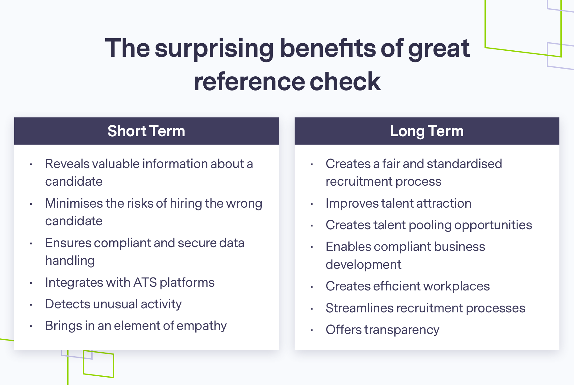 Short and long term benefits of a great reference check