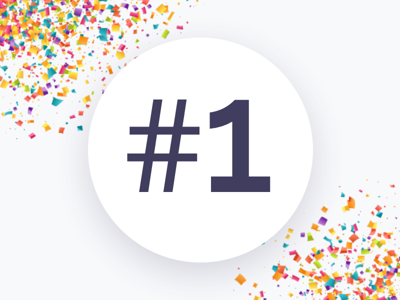 Number one graphic, confetti on grey
