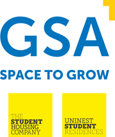 GSA logo, blue and yellow on white background