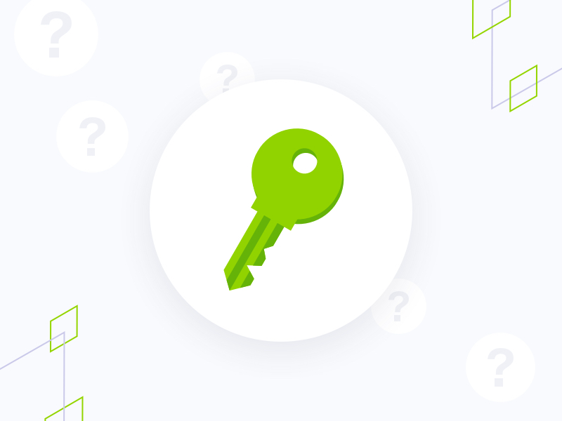 Green key illustration with floating question marks