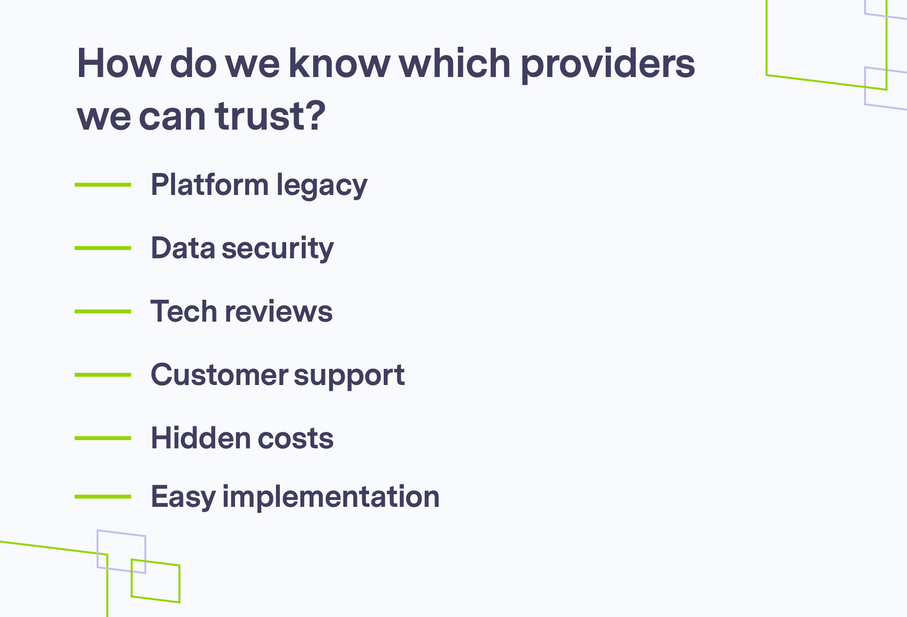 How to trust providers, brand shapes on grey