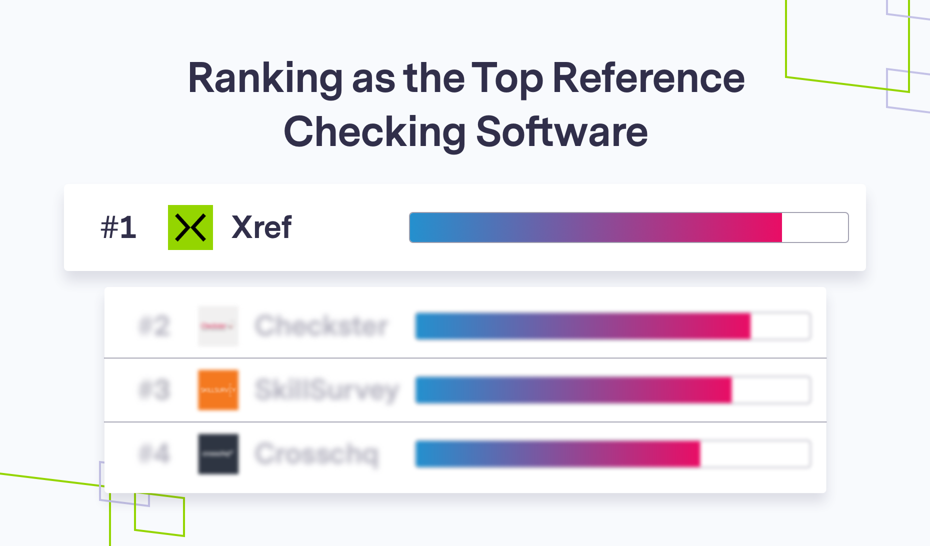 Xref Ranked number 1 graphic, brand shapes on grey
