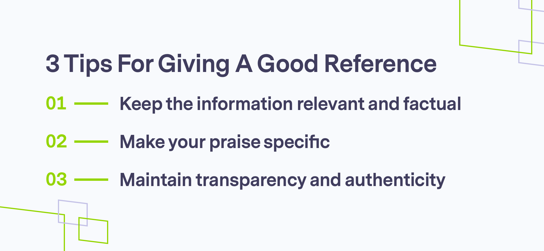 Branded graphics for 3 tips for a good reference