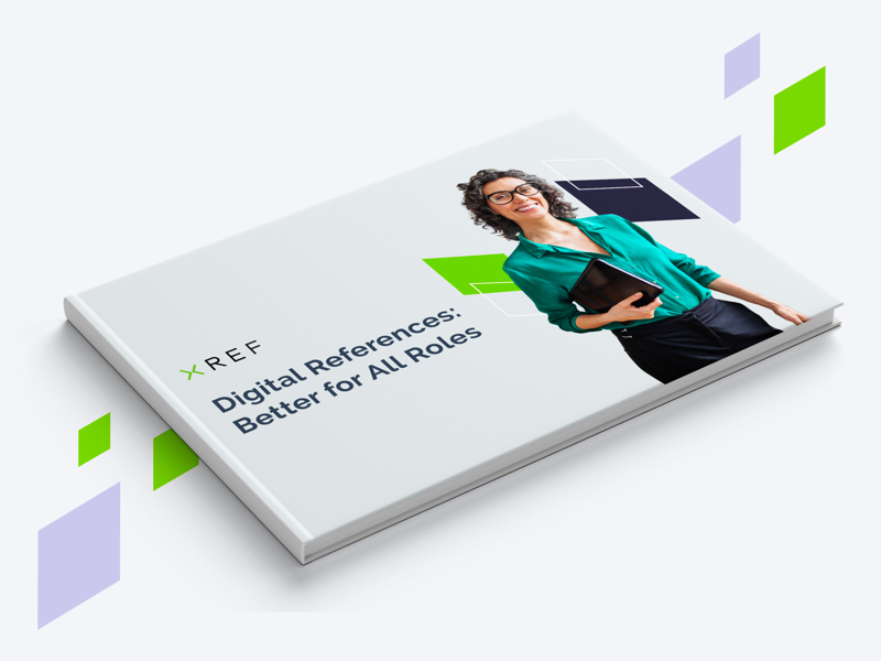 eBook graphic with woman and man on cover, brand shapes on grey