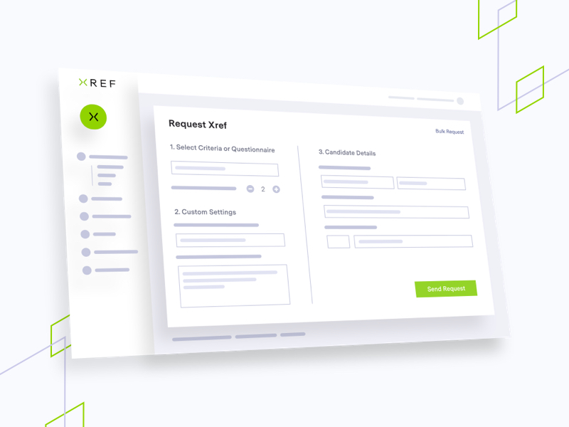 Illustration of Xref platform, brand shapes on grey background
