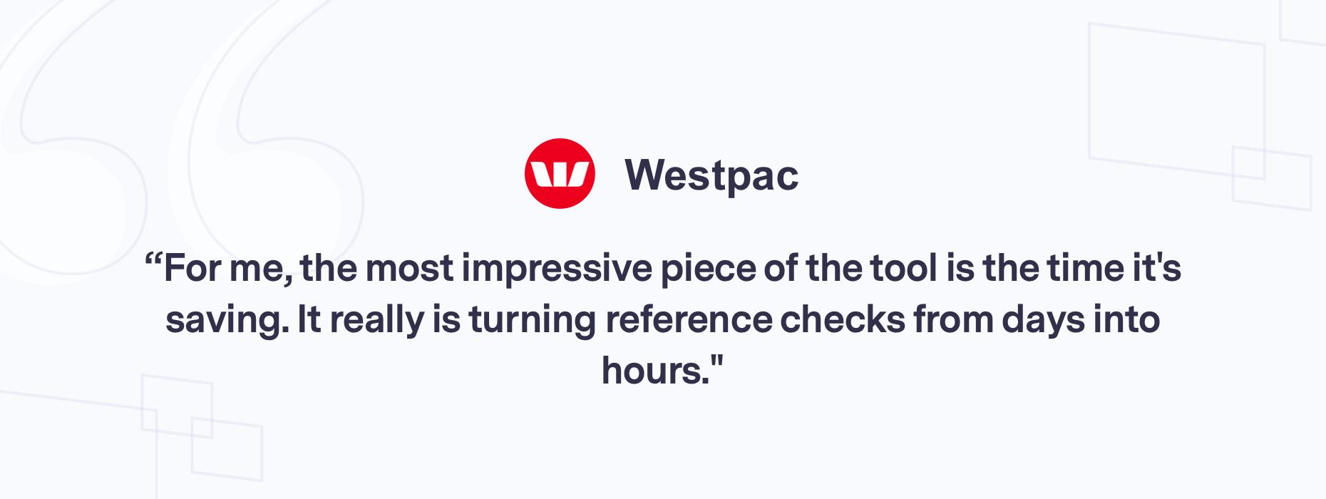 Customer quote Westpac