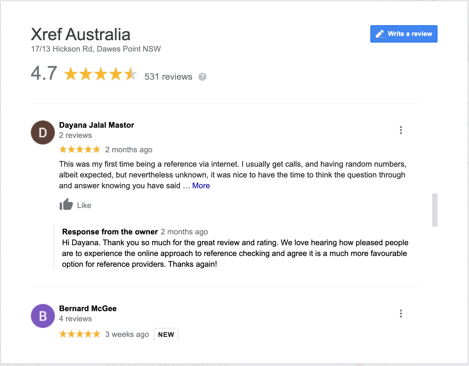 Google review by Dayana Jalal Mastor