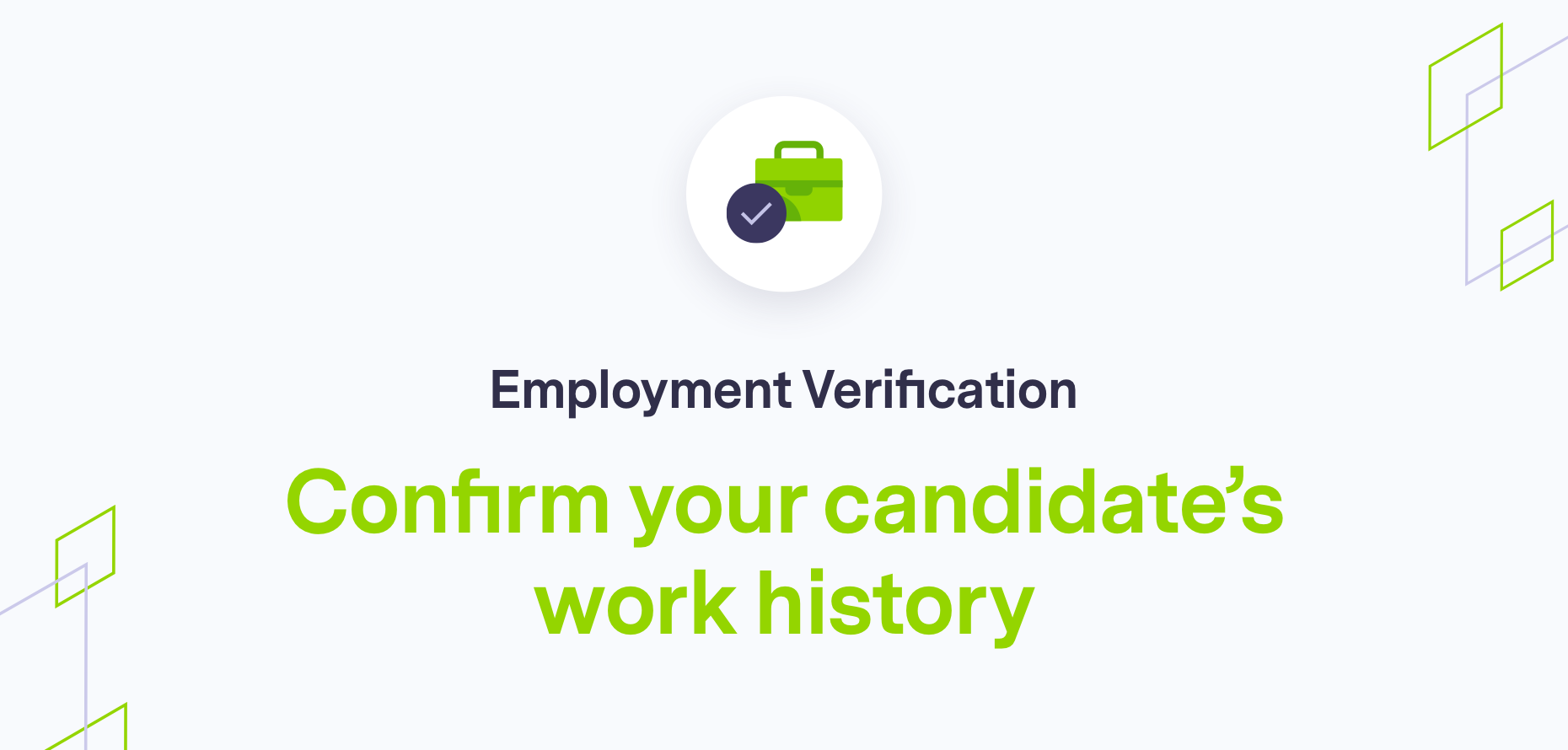 Image on employment verification text with branding